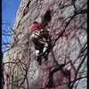 Richard Goldstone on Richard's Reprieve, Two Pines Buttress, in 1962.  The original route veered right to Full Stop, then back left.  The Reprieve is a straightened-out version of the original lead.