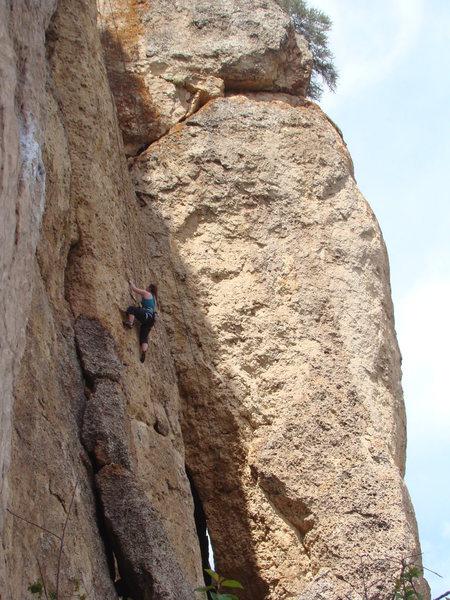 Rock Climbing Photo: Climber top roping The Fabulous Gordini, 5.10b