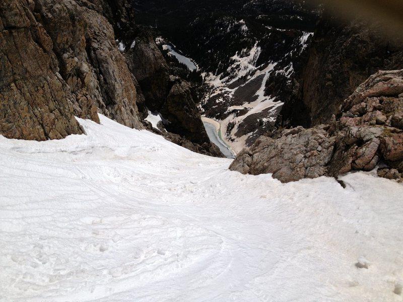Top of Dead Elk Couloir, RMNP, Colorado.  Emerald & Dream Lakes below.  Bob Neuman photo.