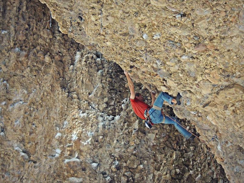 Rock Climbing Photo: Jason, Running for the pigeon holes. (Nikon PL510)
