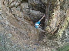 Rock Climbing Photo: Sticking the redpoint crux on the FA.