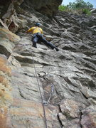 Rock Climbing Photo: Starting up the fun 3rd pitch corner of Gelsa.