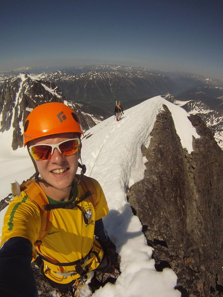 Rock Climbing Photo: On the summit ridge of Matier after completing the...