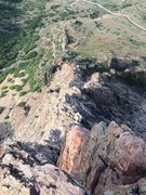 Rock Climbing Photo: Looking down on the route