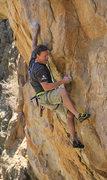 Rock Climbing Photo: Andre cruxing on Pegasus (5.12a)