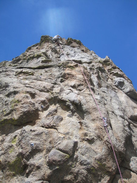 Rock Climbing Photo: Near the anchor of route. The upper crack takes gr...