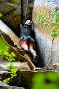 Rock Climbing Photo: Great hands through the final roof.  Fingers below...