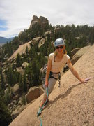 Rock Climbing Photo: Kat A. lounging at the end of P2 on Bishop's Jagge...