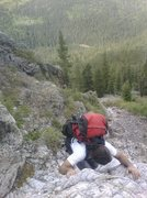 Rock Climbing Photo: Ken on the smooth quartize 5th class scrabble to t...