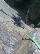 Rock Climbing Photo: Cleaning end of pitch 3. Darn good pitch. We argue...