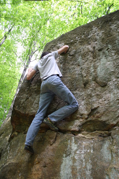 Rock Climbing Photo: About to fall after catching the thumb-dercling on...
