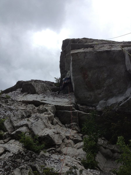 Rock Climbing Photo: carefully up the loose dihedral
