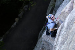 Rock Climbing Photo: Climber on the first belay of Horseman