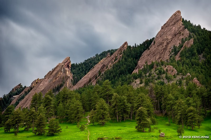 Memorial Day Eve 2013. Sun setting behind the Flatirons. <br> <br> © 2013 Ken Cangi, All Rights Reserved.
