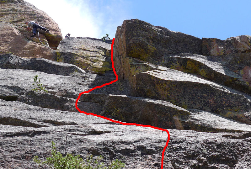 Rock Climbing Photo: Upper part of Head Games. Route approximate. The c...