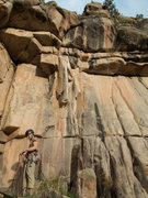 Rock Climbing Photo: To the right of where Gif is standing, atop the bl...