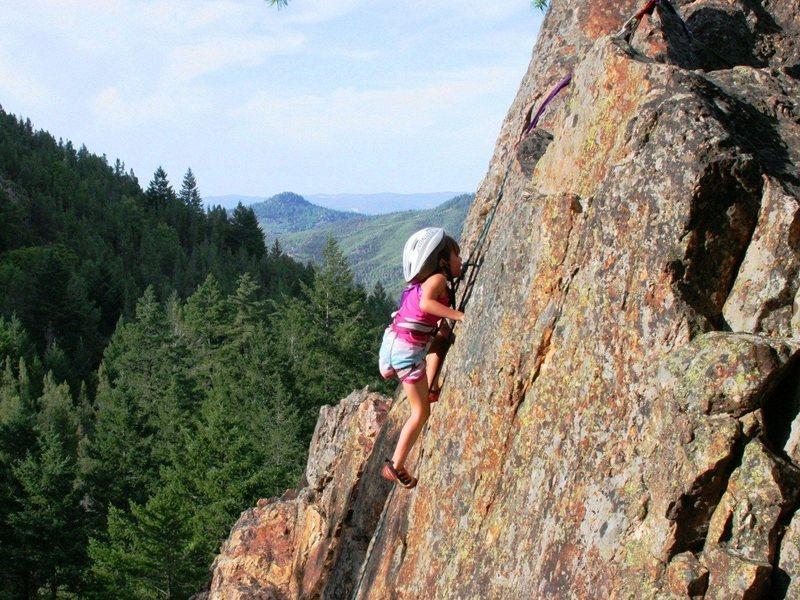 6-year-old Morgan climbing Jamcrack 5.7.