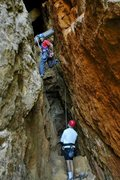 Rock Climbing Photo: Floyd Hayes leading the lower section of Mine Shaf...