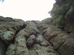 Rock Climbing Photo: working through a cruxy section