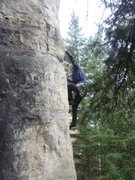Rock Climbing Photo: Jerry tugging as hard as he can to get up Tug Life...