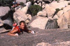 Rock Climbing Photo: Eyeballin' the (yellow painted) Leeper.
