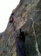 Rock Climbing Photo: Jake having way to much fun on crux pitch!