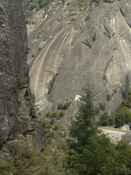 Rock Climbing Photo: Gemini starts at tree closest to white triangle ro...