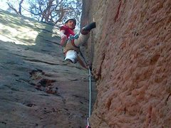 Rock Climbing Photo: At the rest half way up Red Square. Photo by Emily...