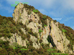Rock Climbing Photo: The Bluff (Beta). Not comprehensive, buy the (curr...