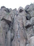 Rock Climbing Photo: Garrett Gillest at age 7 on the BM Route at North ...
