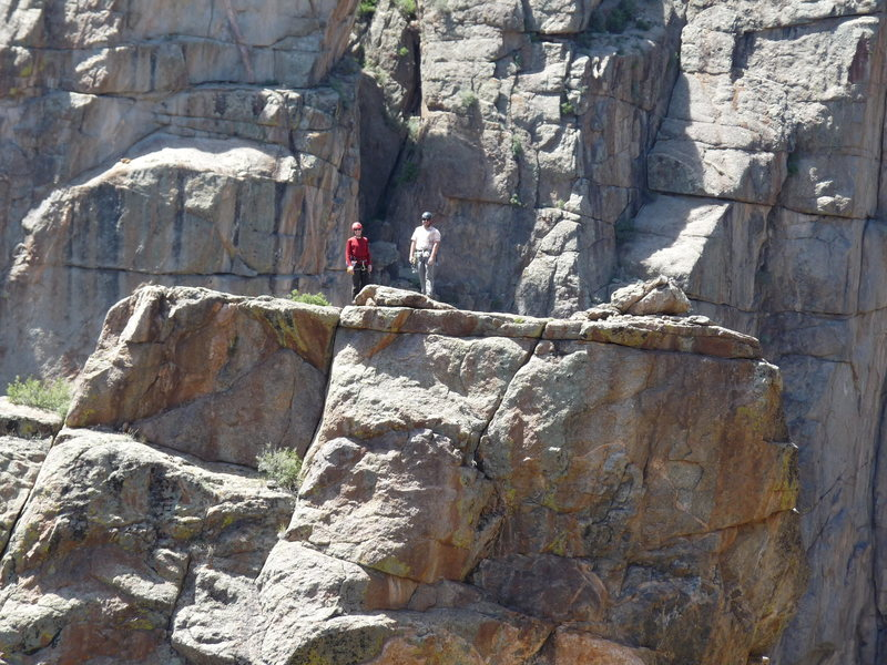 Rock Climbing Photo: Zoom 20X of you at the top of Maiden Voyage.