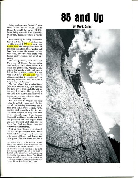 FA of a Q of B, Climbing #44, p. 1<br> <br> Errata highlighted - people have been telling me about these for 35 years ... glad to finally set the record straight.<br> <br> - 600 foot dome, not 800<br> - the Crooked Line, not the Broken Line (it matters)<br> <br>