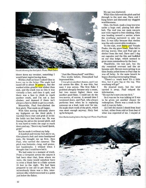 FA of a Q of B, Climbing #44, p. 2<br> <br> - top photo by Paul Horak<br> - 70 degrees, not percent<br> - Venado & Virsylvia Peaks