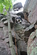 "Rock Climbing Photo: Steve Z. leading ""Oh Rats"" route on 5-25..."
