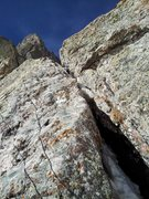 Rock Climbing Photo: The first pitch crux offwidth on Alpine Ambition, ...