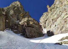 Rock Climbing Photo: The second pitch chockstone on Alpine Ambition, 5/...