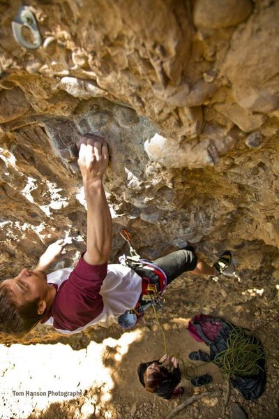 Rock Climbing Photo: approaching bolt #2