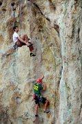 Rock Climbing Photo: Bottom climber is climbing Wannabe Llamas; top cli...