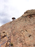 Rock Climbing Photo: Doug goes up to the top.  Note, this photo is take...