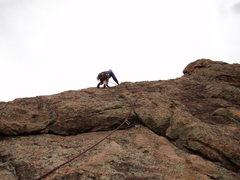 Rock Climbing Photo: Doug goes up P2 to the top.