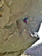 """Rock Climbing Photo: """"Godzilla does the fuzzy tango"""" (5.12a)"""
