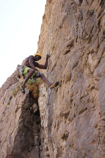 Logging some air miles on a weird and chossy 5.11c at the Shaded wall, Central Gorge area.