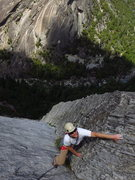 Rock Climbing Photo: caughtinside nears the end of the long dihedral le...