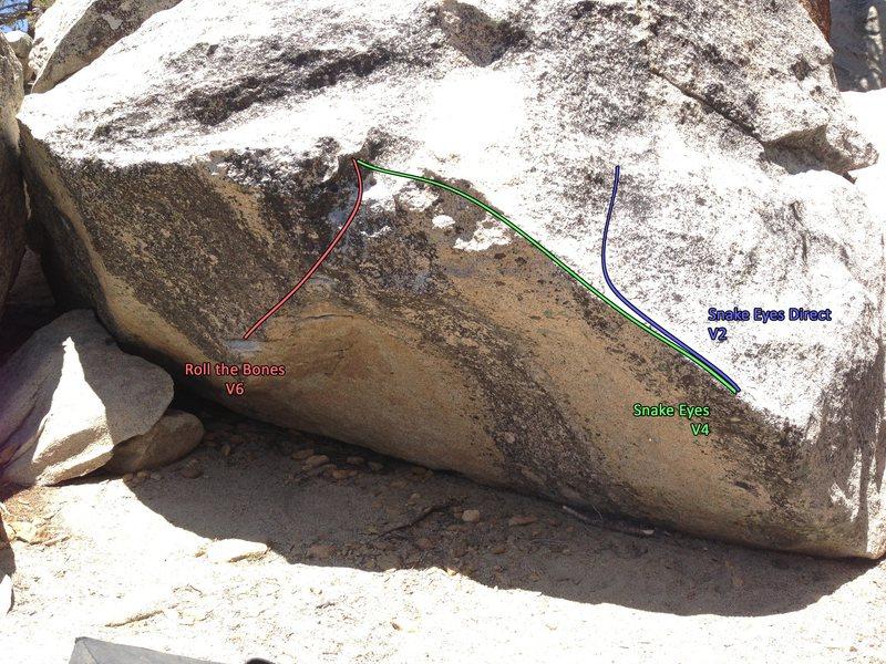 Rock Climbing Photo: Roll the Bones Boulder problem topo.