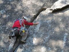Rock Climbing Photo: Mike, on Hanging Flake as alternate start to Swan ...