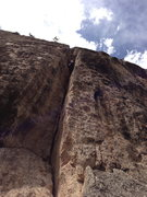 Rock Climbing Photo: Jason Litton nearing the end and planning his esca...
