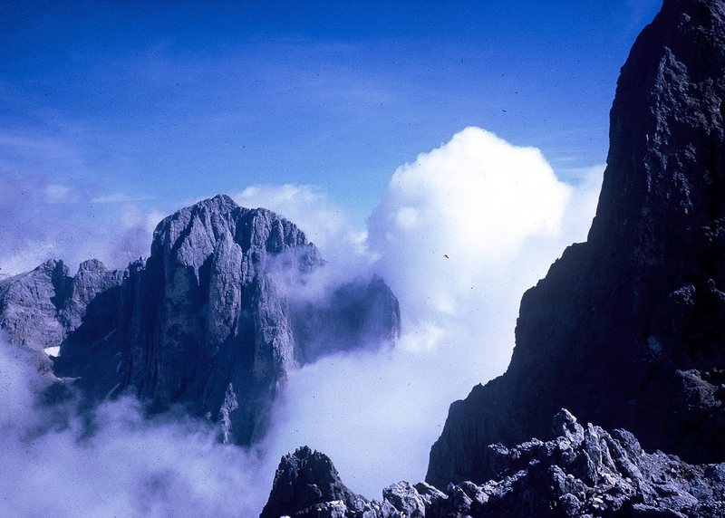 The massive form of the Pala di San Martino as seen from summit of Cima della Madonna.