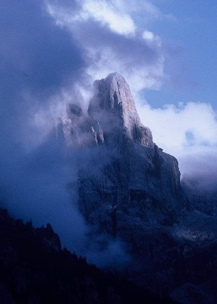 Cima della Madonna from San Martino di Castrozza; 6 September 1963.The route follows the line delineated by sunlight and shadow.
