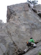 Rock Climbing Photo: The approach slab toward Party Time. A small cam c...