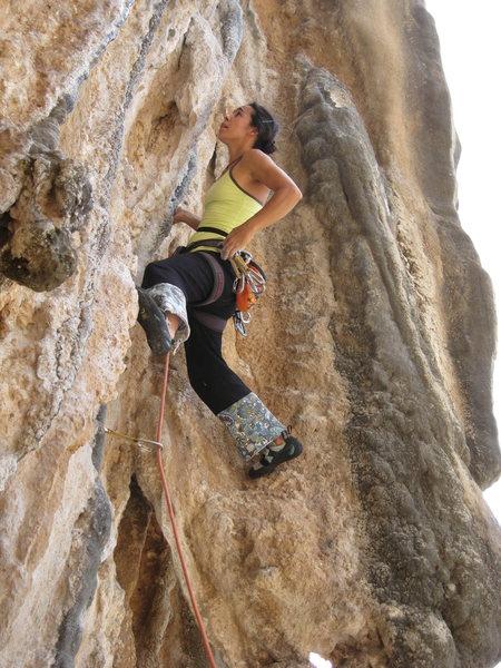 Rock Climbing Photo: Silvina Verdun making a clip on Thetis